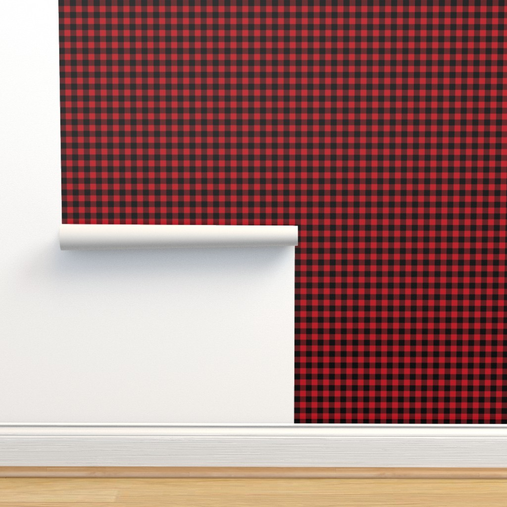 """Isobar Durable Wallpaper featuring 1"""" buffalo plaid black and red kids cute nursery hunting outdoors camping red and black plaid checks by charlottewinter"""