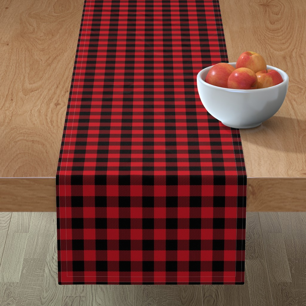 "Minorca Table Runner featuring 1"" buffalo plaid black and red kids cute nursery hunting outdoors camping red and black plaid checks by charlottewinter"