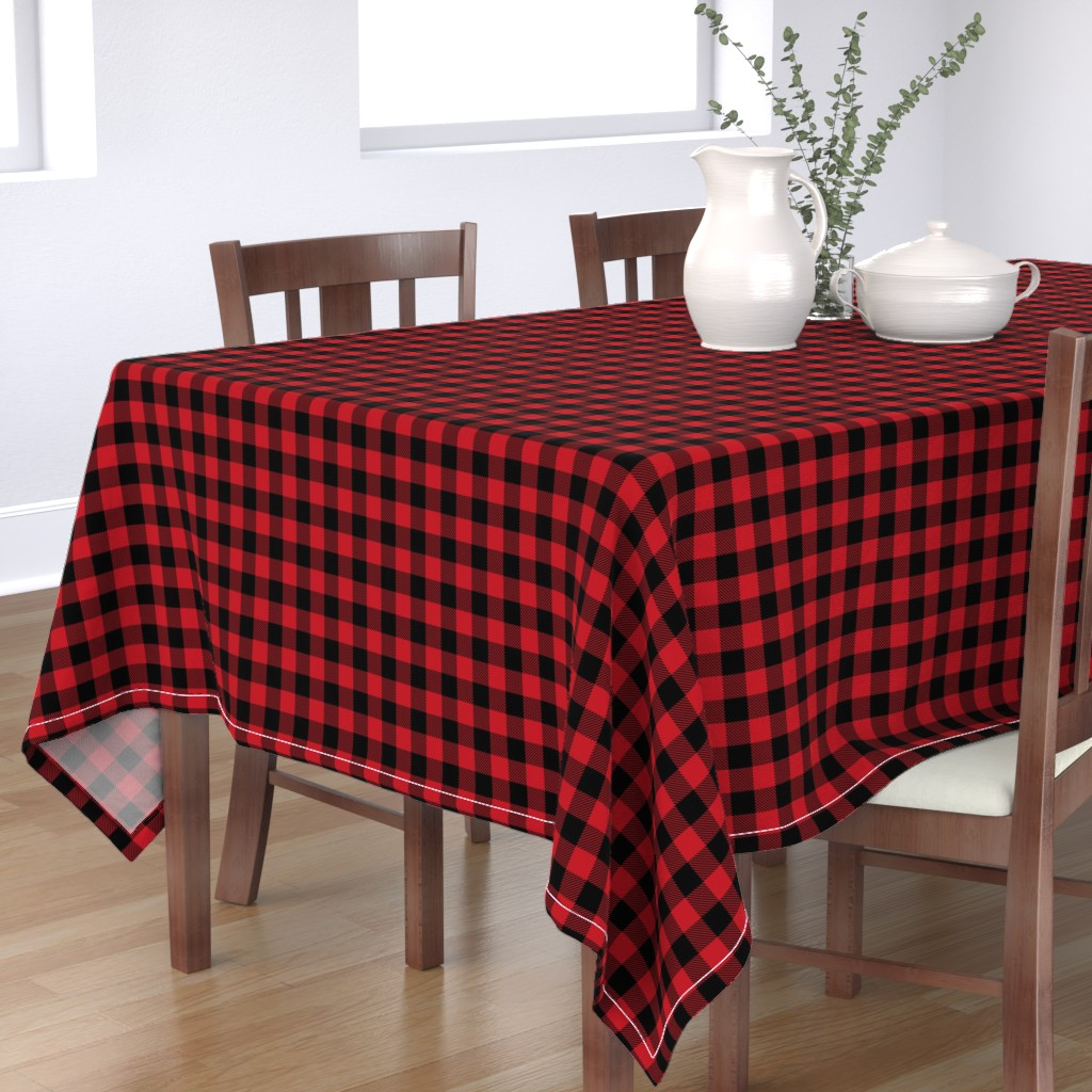 """Bantam Rectangular Tablecloth featuring 1"""" buffalo plaid black and red kids cute nursery hunting outdoors camping red and black plaid checks by charlottewinter"""