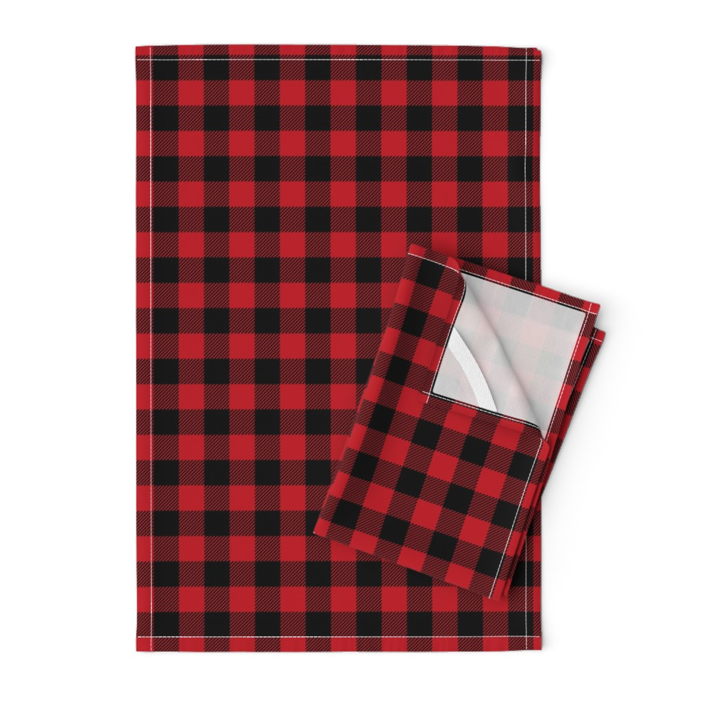 "Orpington Tea Towels featuring 1"" buffalo plaid black and red kids cute nursery hunting outdoors camping red and black plaid checks by charlottewinter"