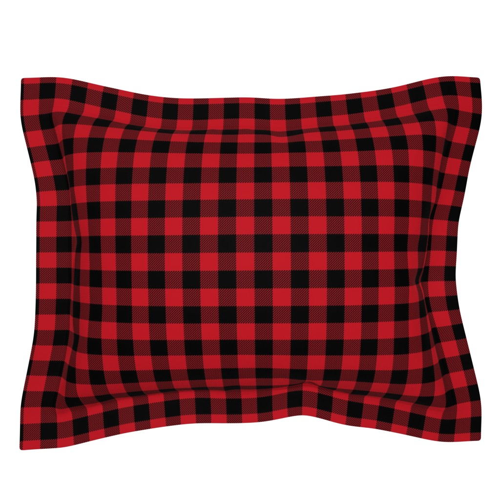 "Sebright Pillow Sham featuring 1"" buffalo plaid black and red kids cute nursery hunting outdoors camping red and black plaid checks by charlottewinter"