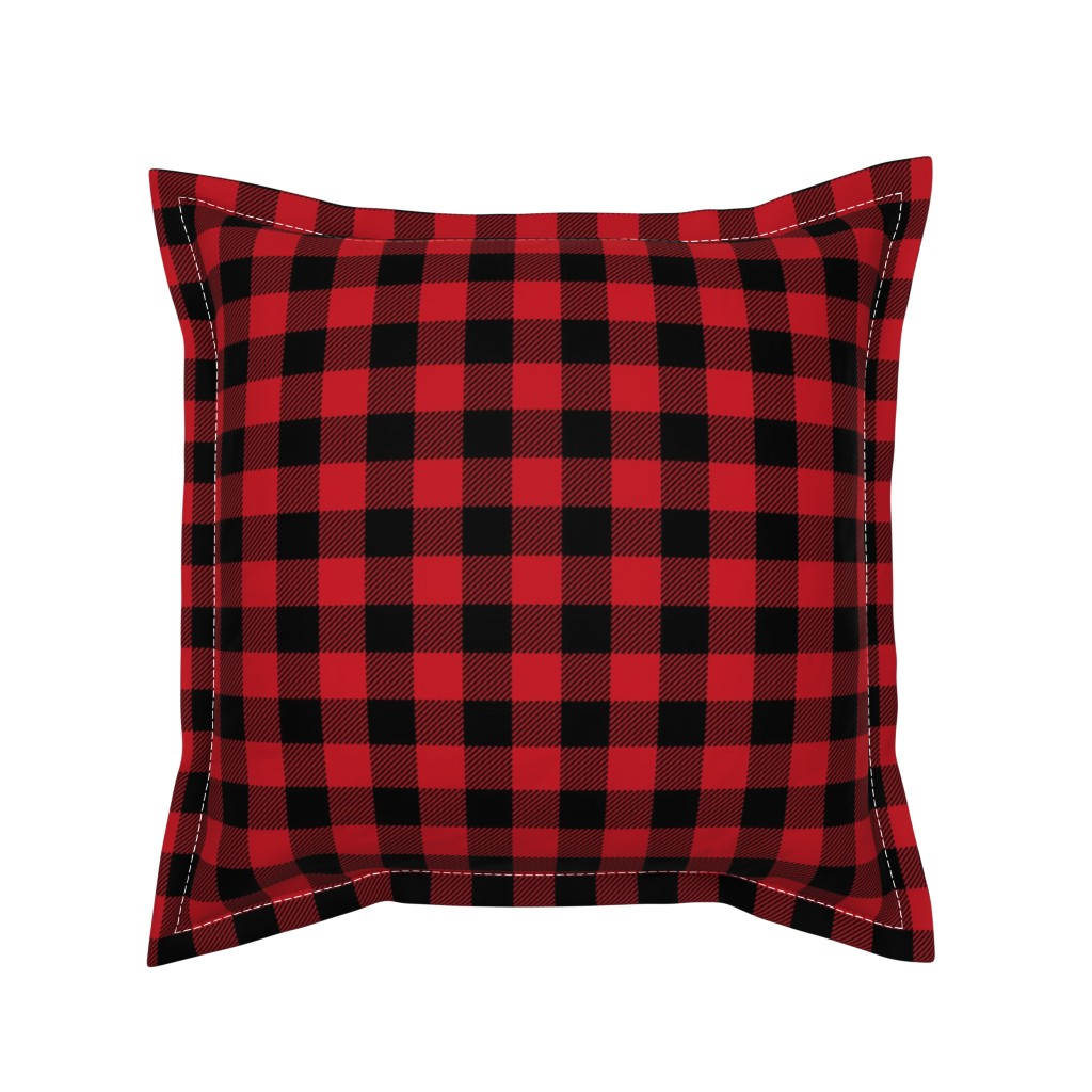 """Serama Throw Pillow featuring 1"""" buffalo plaid black and red kids cute nursery hunting outdoors camping red and black plaid checks by charlottewinter"""