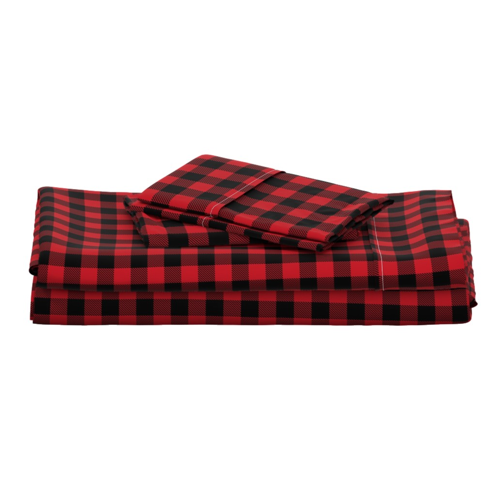 "Langshan Full Bed Set featuring 1"" buffalo plaid black and red kids cute nursery hunting outdoors camping red and black plaid checks by charlottewinter"