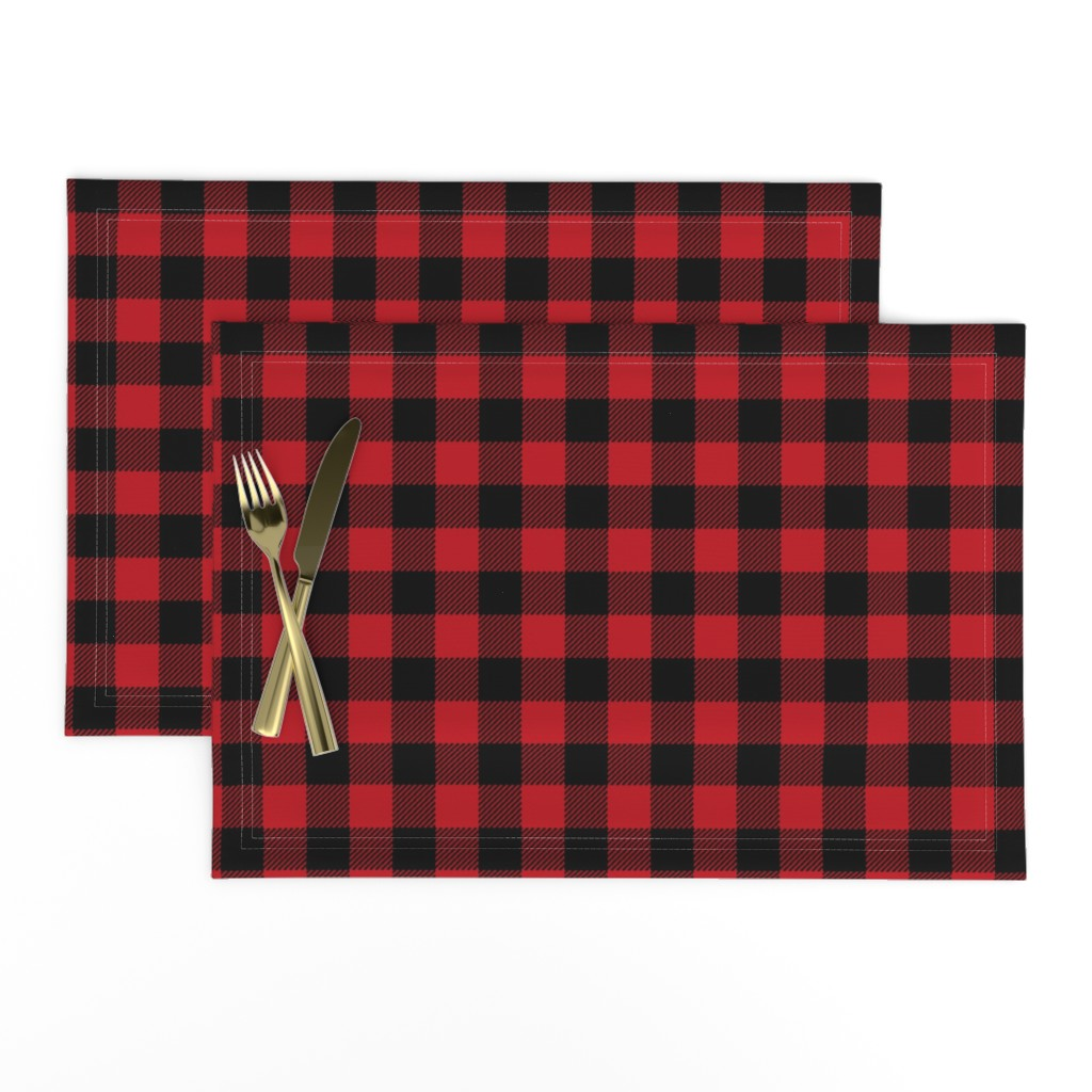 """Lamona Cloth Placemats featuring 1"""" buffalo plaid black and red kids cute nursery hunting outdoors camping red and black plaid checks by charlottewinter"""