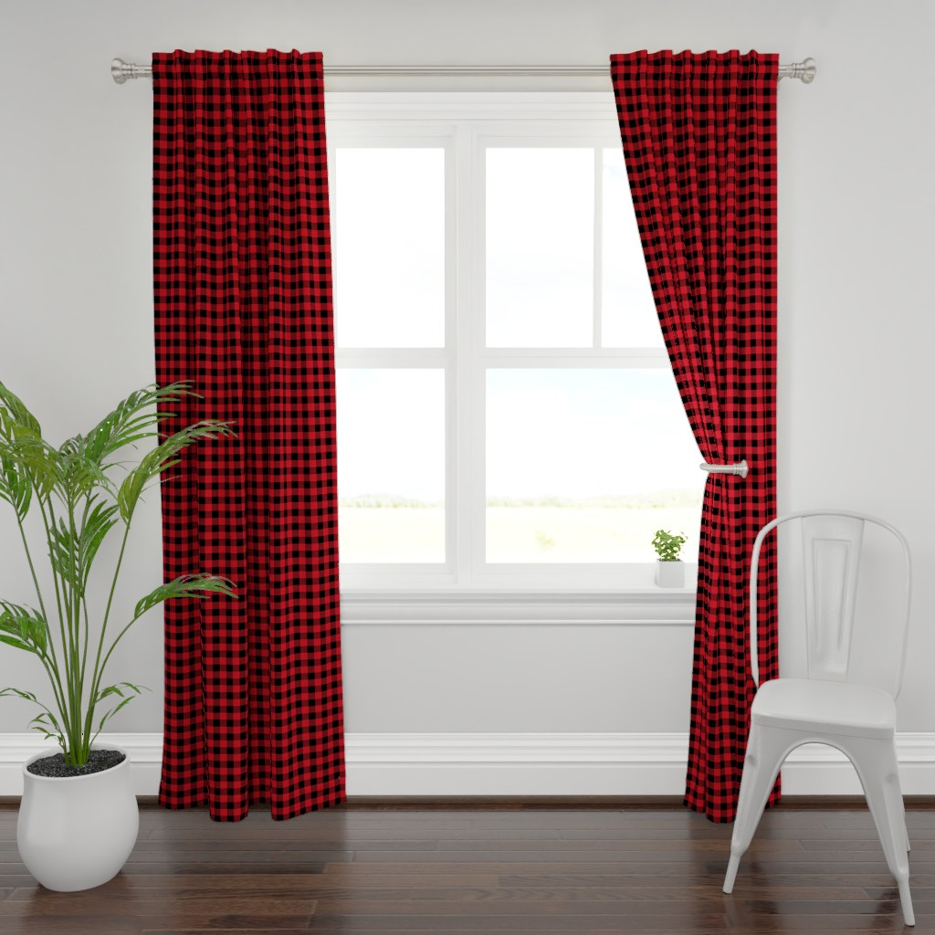 "Plymouth Curtain Panel featuring 1"" buffalo plaid black and red kids cute nursery hunting outdoors camping red and black plaid checks by charlottewinter"