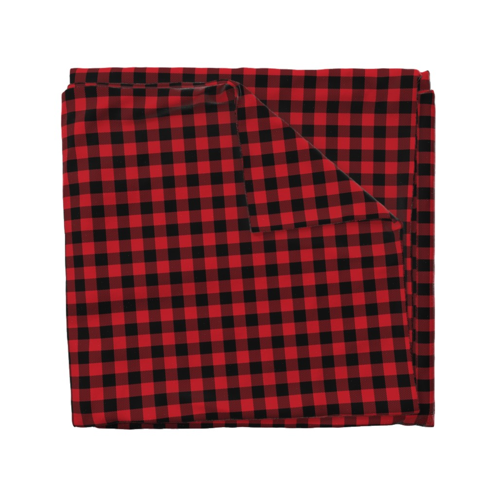 "Wyandotte Duvet Cover featuring 1"" buffalo plaid black and red kids cute nursery hunting outdoors camping red and black plaid checks by charlottewinter"