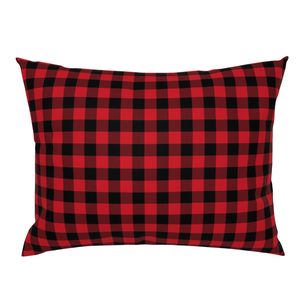 "Campine Pillow Sham featuring 1"" buffalo plaid black and red kids cute nursery hunting outdoors camping red and black plaid checks by charlottewinter"