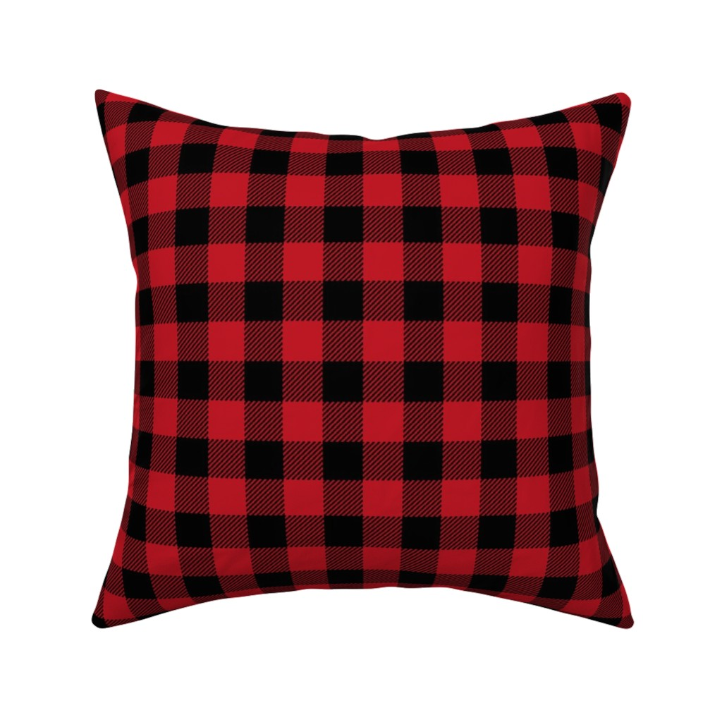 "Catalan Throw Pillow featuring 1"" buffalo plaid black and red kids cute nursery hunting outdoors camping red and black plaid checks by charlottewinter"