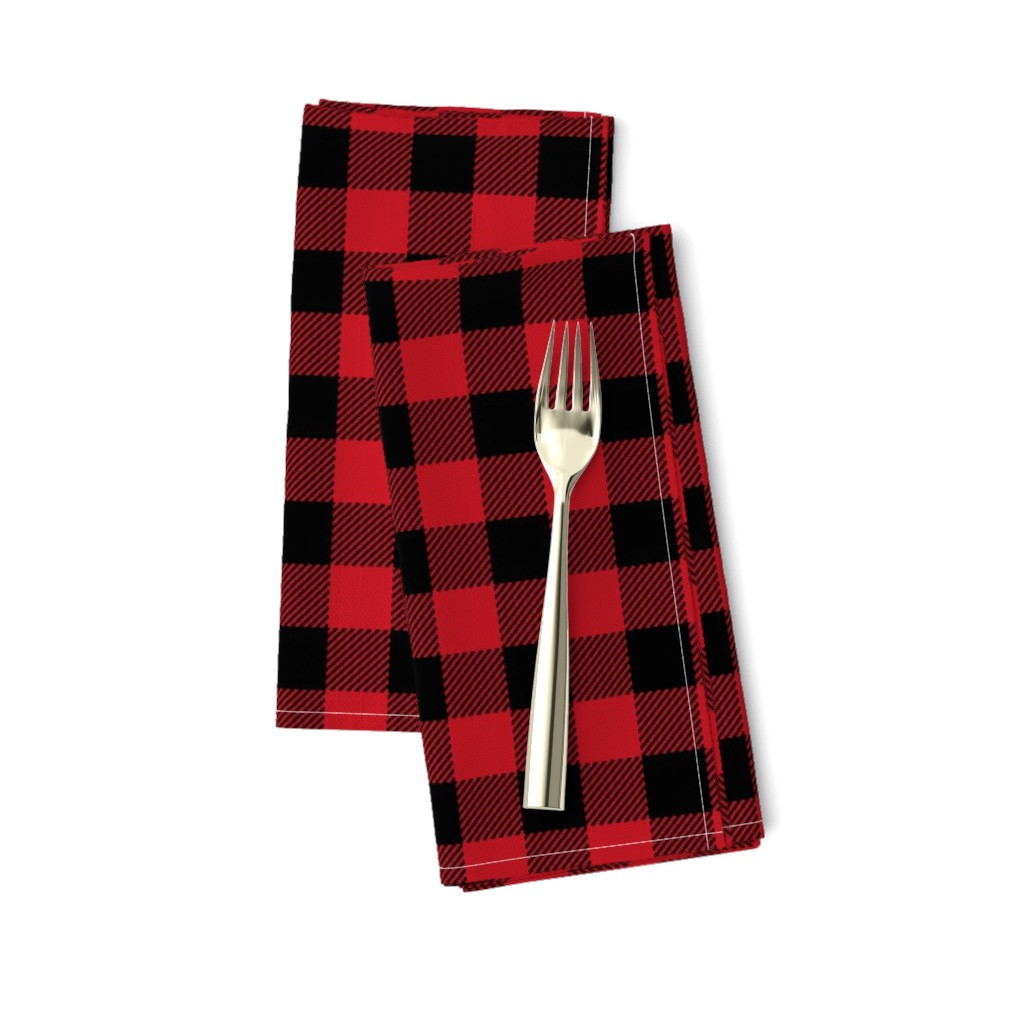 "Amarela Dinner Napkins featuring 1"" buffalo plaid black and red kids cute nursery hunting outdoors camping red and black plaid checks by charlottewinter"