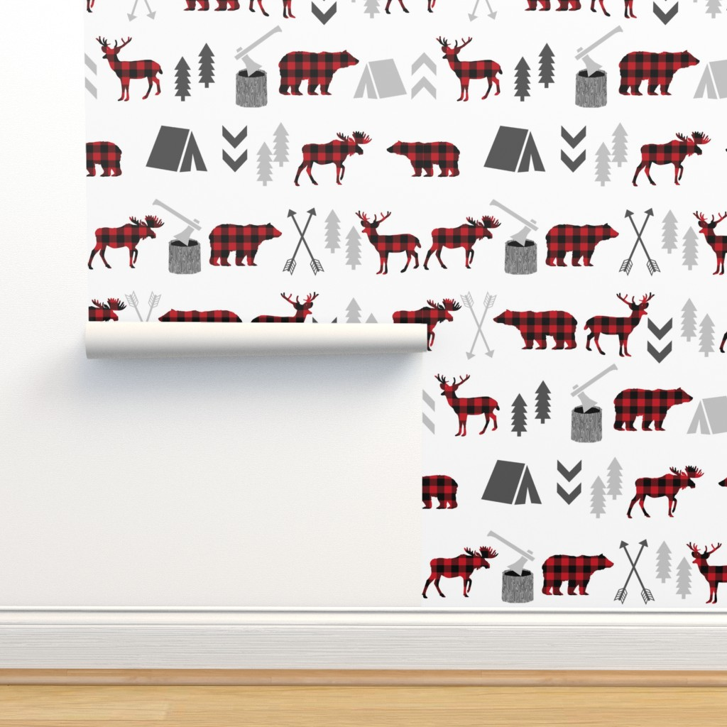 Isobar Durable Wallpaper featuring buffalo plaid woodland moose deer bear forest woodland trees camping canada kids by charlottewinter