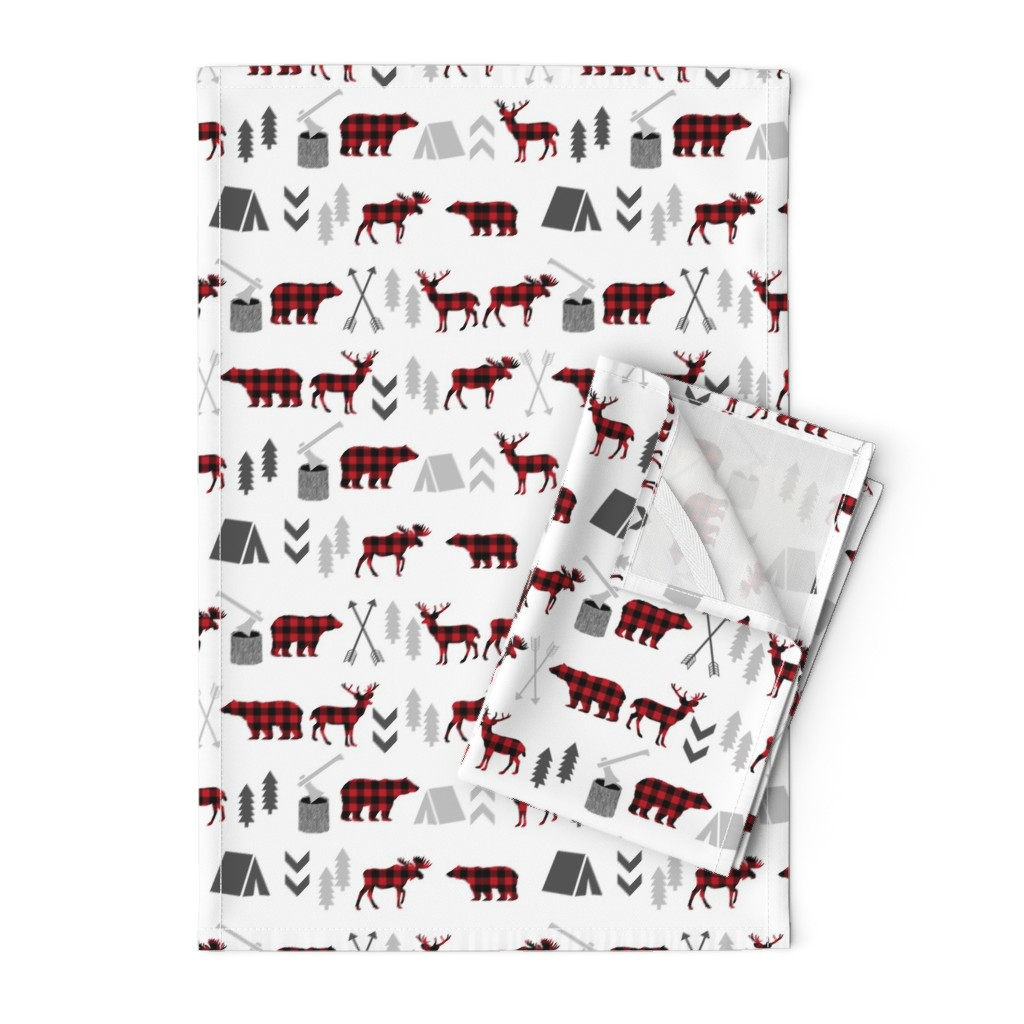Orpington Tea Towels featuring buffalo plaid woodland moose deer bear forest woodland trees camping canada kids by charlottewinter