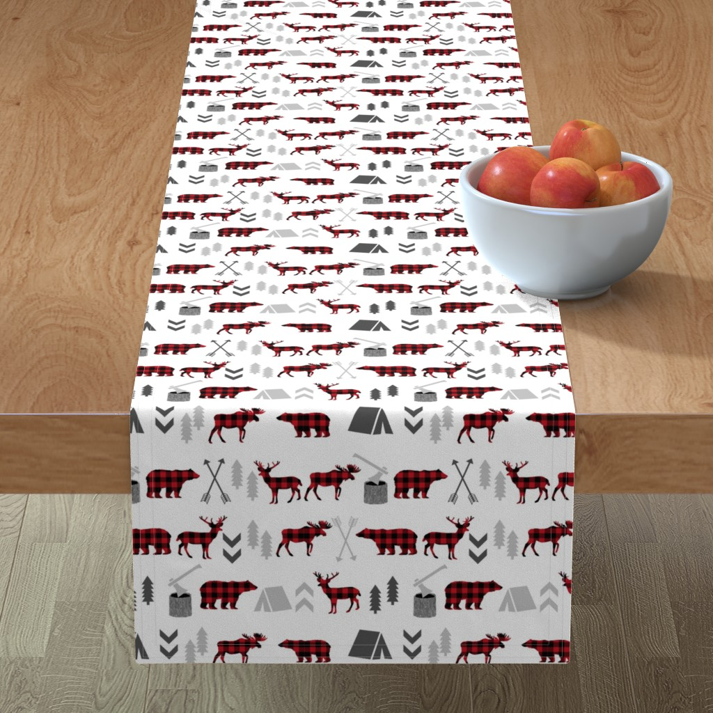 Minorca Table Runner featuring buffalo plaid woodland moose deer bear forest woodland trees camping canada kids by charlottewinter