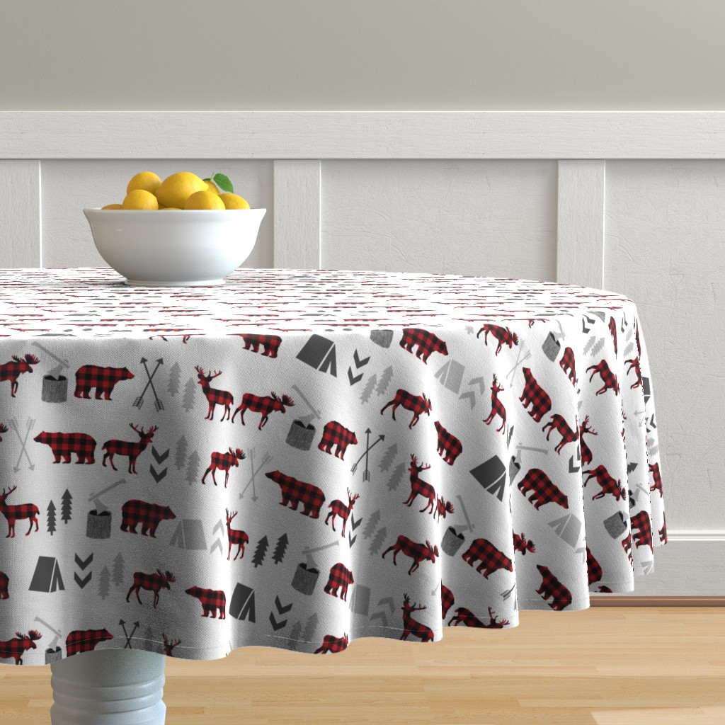 Malay Round Tablecloth featuring buffalo plaid woodland moose deer bear forest woodland trees camping canada kids by charlottewinter