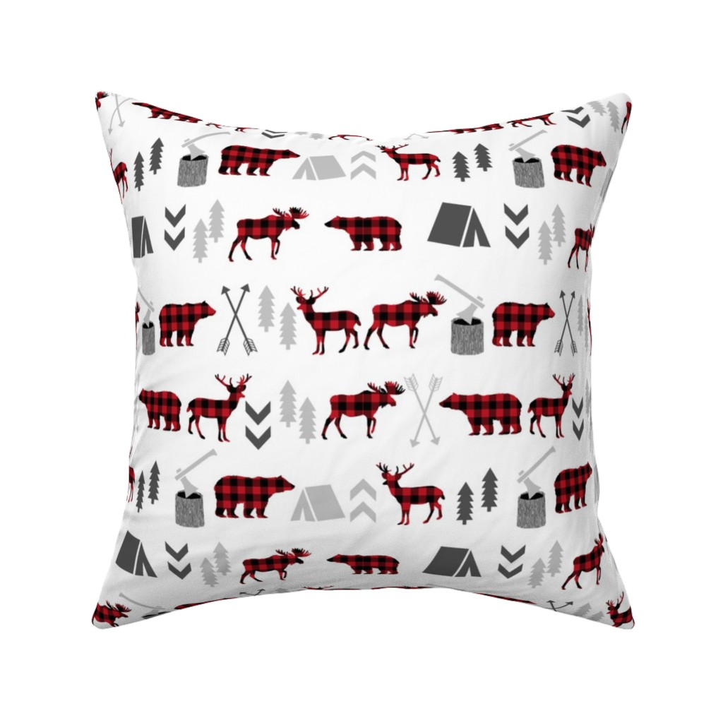 Catalan Throw Pillow featuring buffalo plaid woodland moose deer bear forest woodland trees camping canada kids by charlottewinter