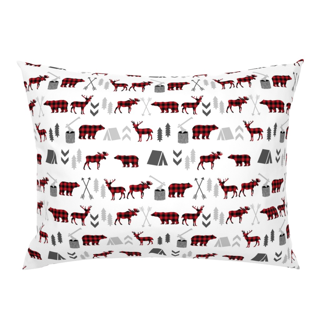 Campine Pillow Sham featuring buffalo plaid woodland moose deer bear forest woodland trees camping canada kids by charlottewinter