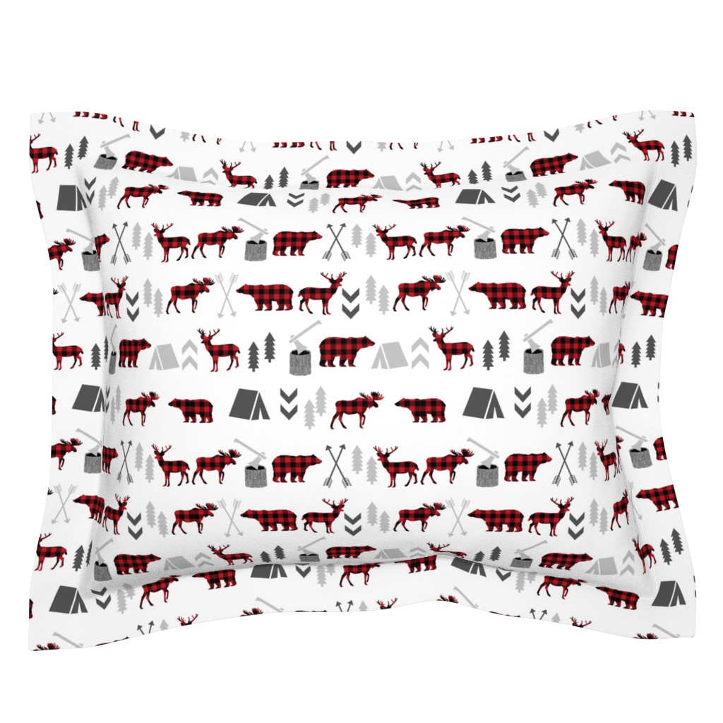 Sebright Pillow Sham featuring buffalo plaid woodland moose deer bear forest woodland trees camping canada kids by charlottewinter