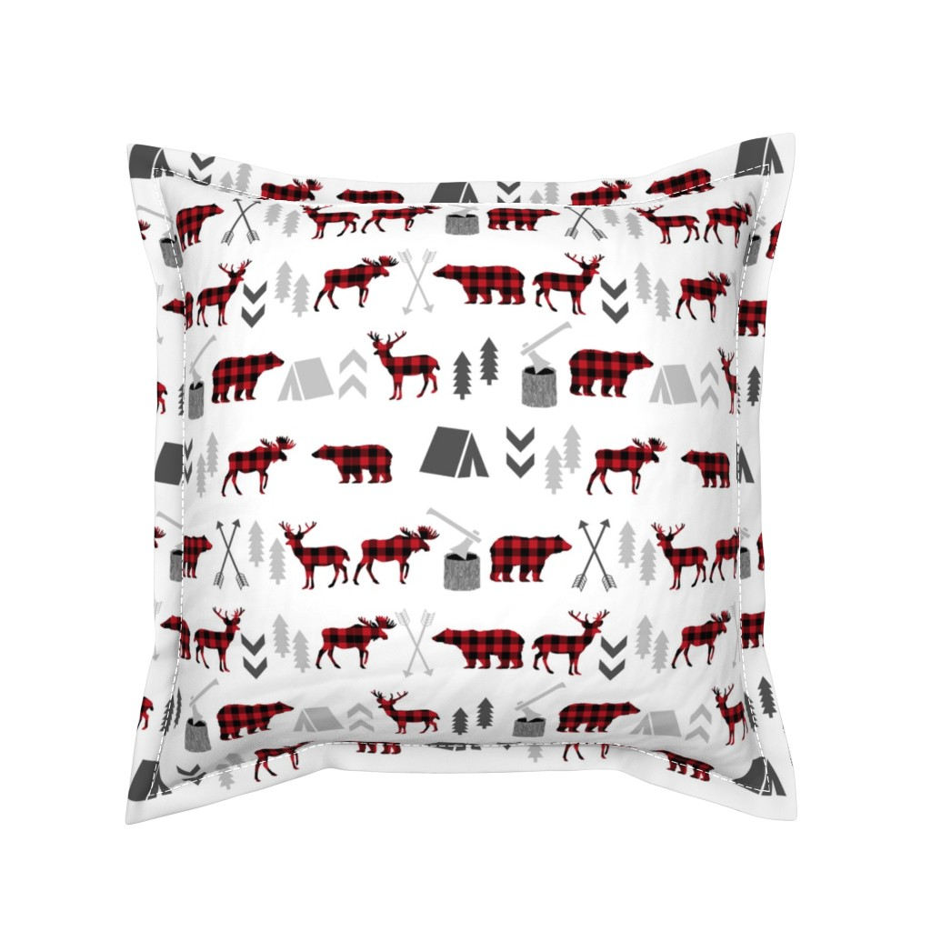 Serama Throw Pillow featuring buffalo plaid woodland moose deer bear forest woodland trees camping canada kids by charlottewinter