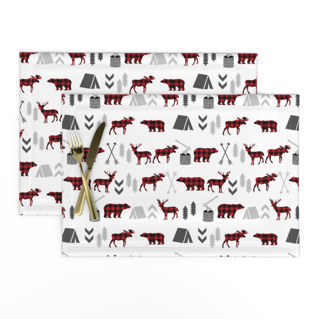 Lamona Cloth Placemats featuring buffalo plaid woodland moose deer bear forest woodland trees camping canada kids by charlottewinter