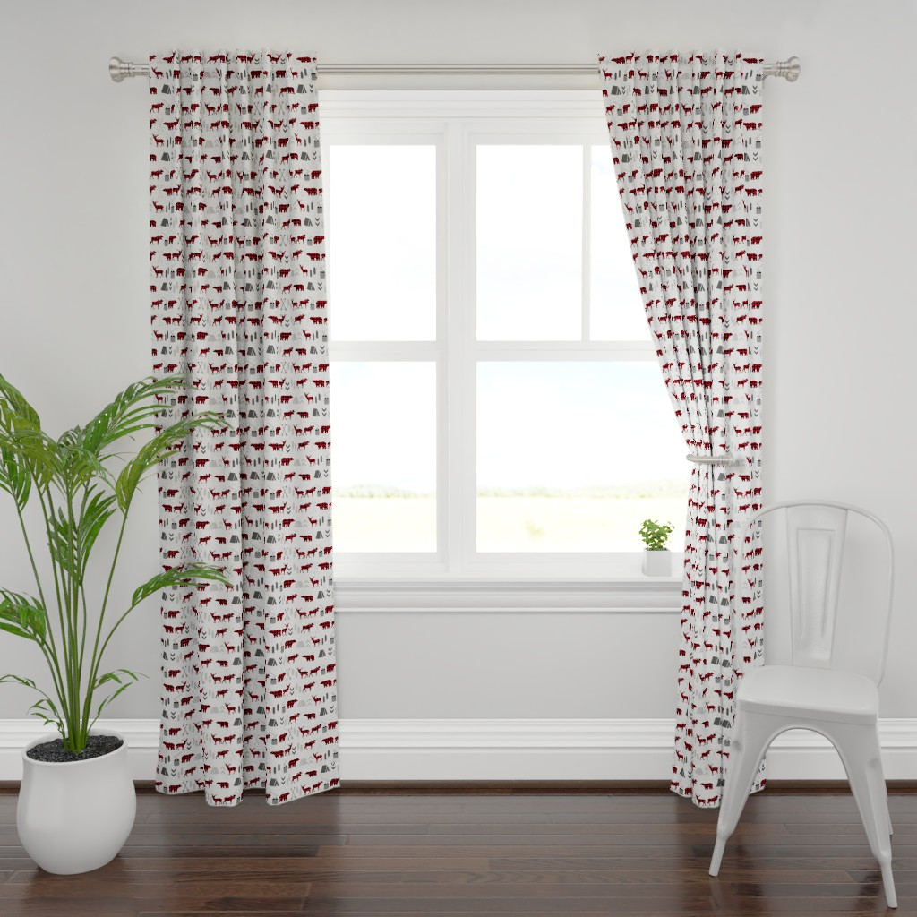 Plymouth Curtain Panel featuring buffalo plaid woodland moose deer bear forest woodland trees camping canada kids by charlottewinter