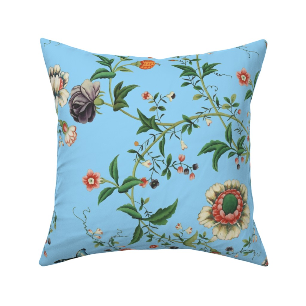 Catalan Throw Pillow featuring The Dowager's Chinese Room on aqua by lilyoake
