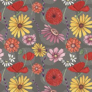 summer flowers poppies zinnias daisies black-eyed susans lavender cosmos