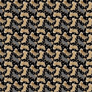 Trotting Tibetan Spaniels and paw prints - tiny black