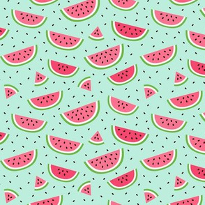 watermelons light teal :: fruity fun