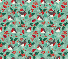 Christmas birds in snow on mint