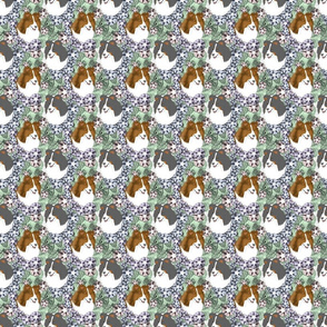 Floral Shetland sheepdog portraits - small