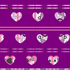 Hearts and Stripes on Violet