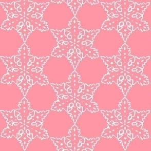 Christmas fabric, Vintage Christmas , snowflake, pyrex fabric, hygge,  pink pyrex inspired
