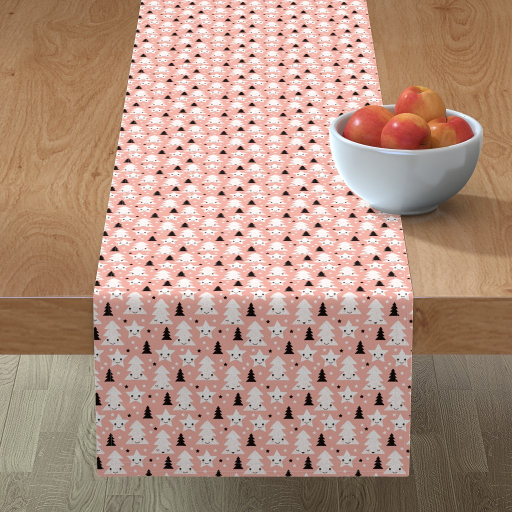 Minorca Table Runner featuring Merry christmas kawaii seasonal christmas trees and stars Japanese illustration print pastel pink XS by littlesmilemakers