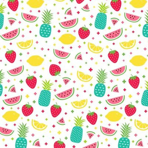 fruity mix plus teal :: fruity fun lemons strawberries pineapples watermelons