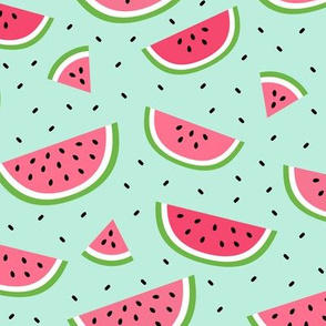 watermelons light teal :: fruity fun bigger