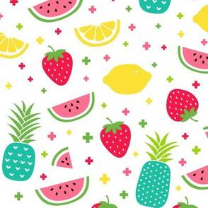 fruity mix plus teal :: fruity fun bigger lemons strawberries pineapples watermelons