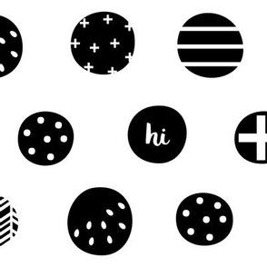 hello hi hey dots black white :: fruity fun bigger