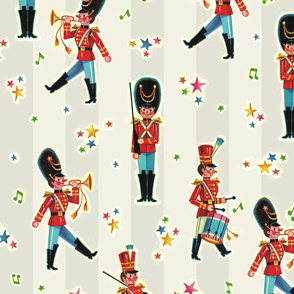 Vintage Toy Soldier Retro Christmas Stickers