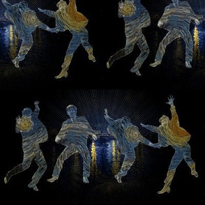 Beatles Jumping Starry Night on Black