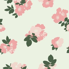 Wild Roses in Cream // Vintage-inspired modern floral print for wallpaper or fabric - original repeat pattern by Zoe Charlotte