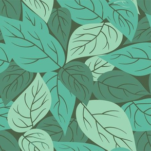 Scattered Leaves in Green // Vintage-inspired modern floral print for wallpaper or fabric - original repeat pattern by Zoe Charlotte