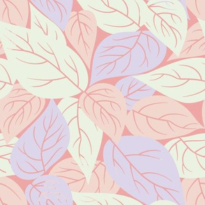 Scattered Leaves in Pink // Vintage-inspired modern floral print for wallpaper or fabric - original repeat pattern by Zoe Charlotte