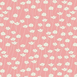 Daisy Field in Pink // Vintage-inspired modern floral print for wallpaper or fabric - original repeat pattern by Zoe Charlotte