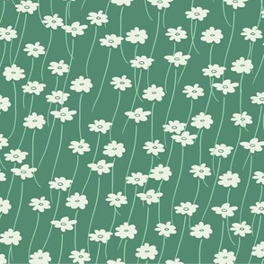Daisy Field in Green // Vintage-inspired modern floral print for wallpaper or fabric - original repeat pattern by Zoe Charlotte