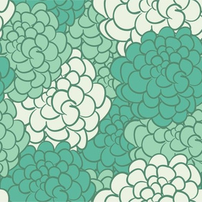 Camellia in Green // Vintage-inspired modern floral print for wallpaper or fabric - original repeat pattern by Zoe Charlotte
