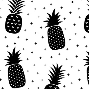 pineapples + black white :: fruity fun huge
