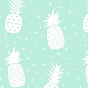pineapples + light teal :: fruity fun huge