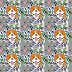 Floral American Bully portraits