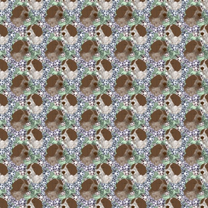 Floral German wirehaired Pointer portraits - small