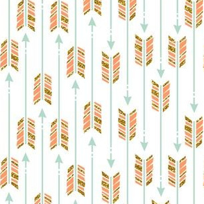 Small Glitter Arrows: Coral, Mint & Gold