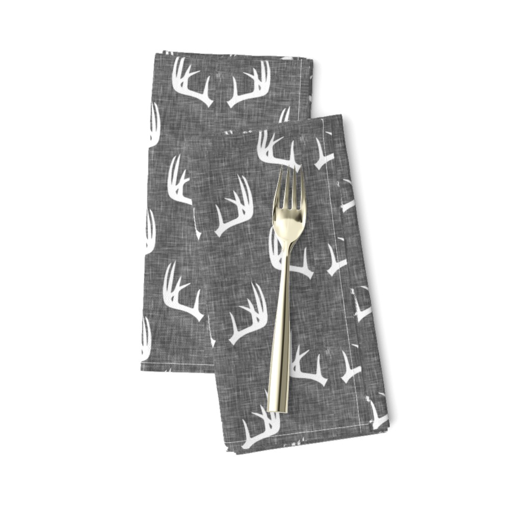 Amarela Dinner Napkins featuring antlers on grey linen by littlearrowdesign
